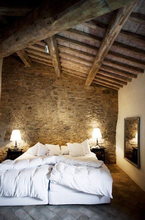 rustic stoned bedroom