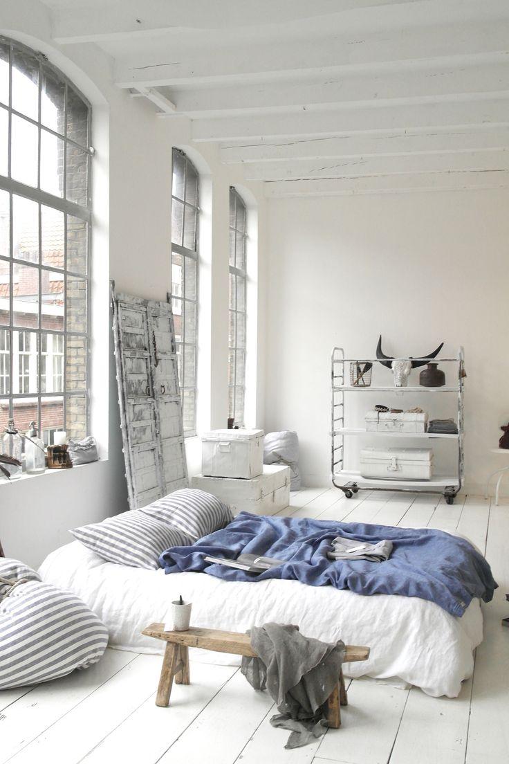 white urban bedroom