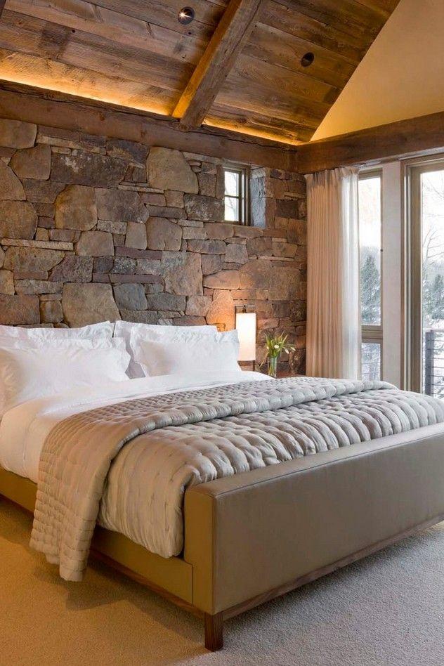 stone wall bedroom