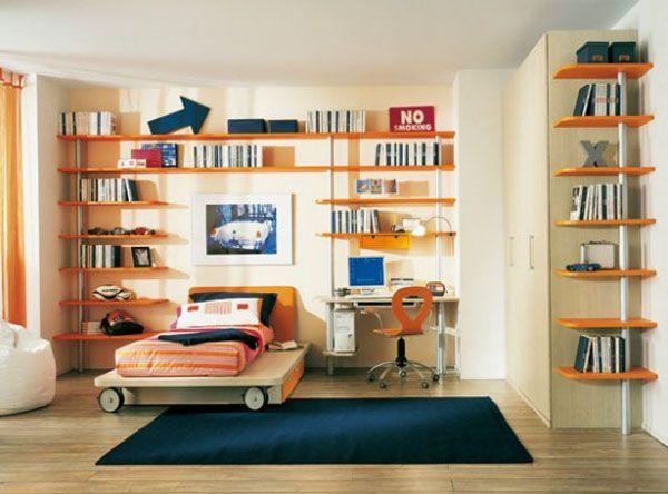 orange and blue bedroom