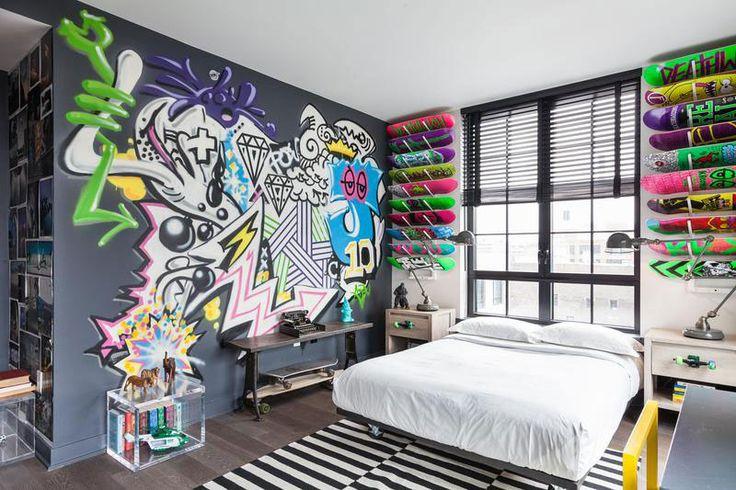 graffiti and skateboards teenage bedroom