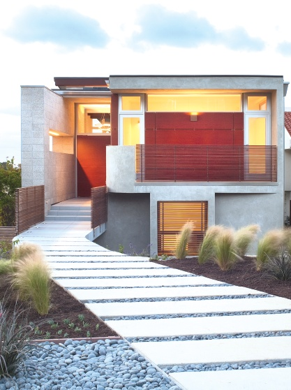 modern front pathway with pavers