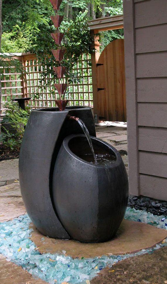 black garden water feature
