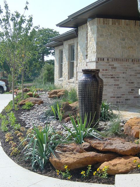 modern xeriscape garden feature