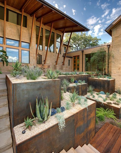 contemporary terraced gardening