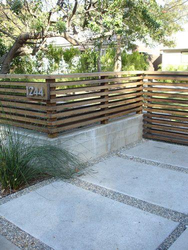 modern horizontal wood fencing