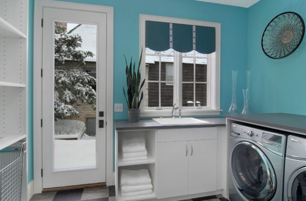 bright turquoise laundry room