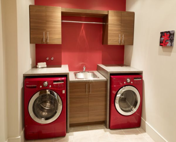 contemporary red laundry room