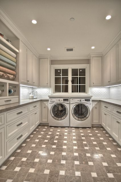 neat and clean laundry room