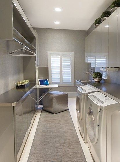 modern industrial themed laundry room