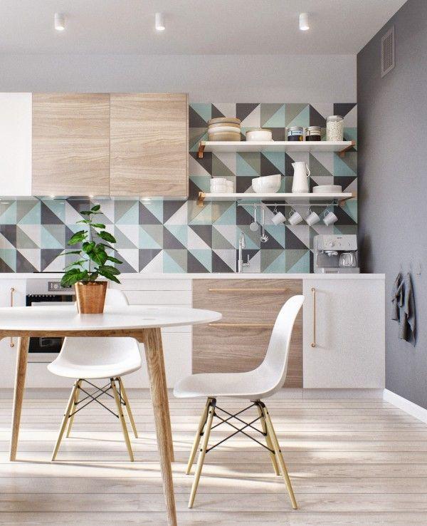 geometric pattern kitchen splashback