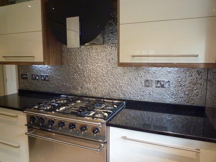 textured glass kitchen splashback