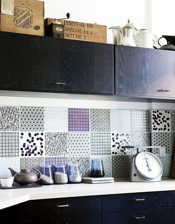 patchwork tile splashback