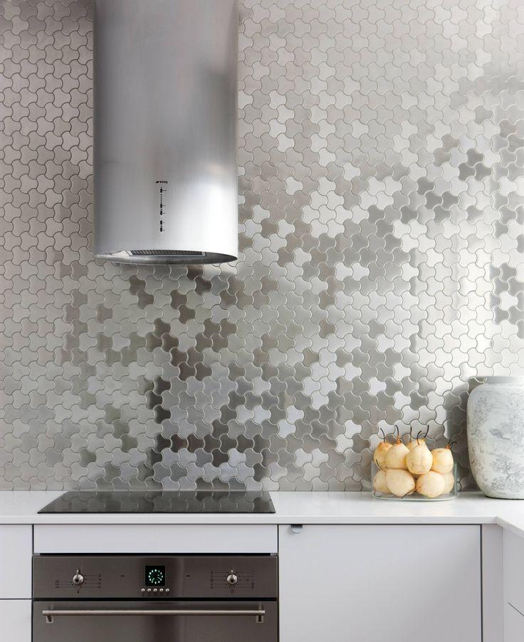 stainless steel mosaic splashback
