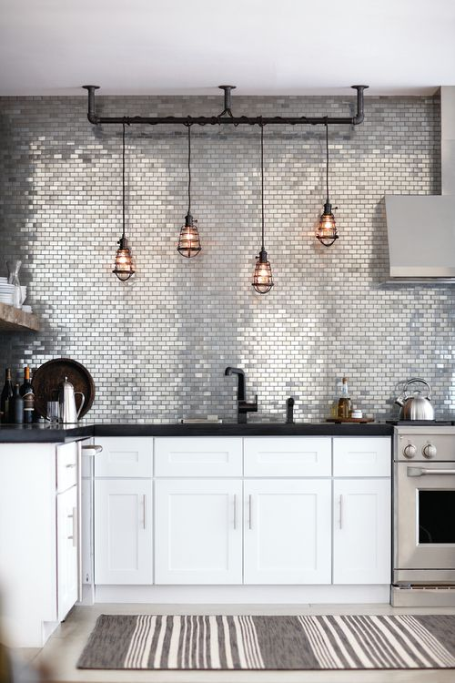 metal mosaic tile splashback