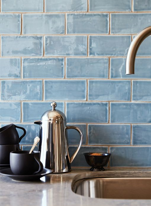 blue handmade tile splashback