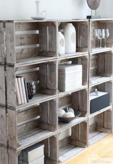 repurposed wooden crate shelves