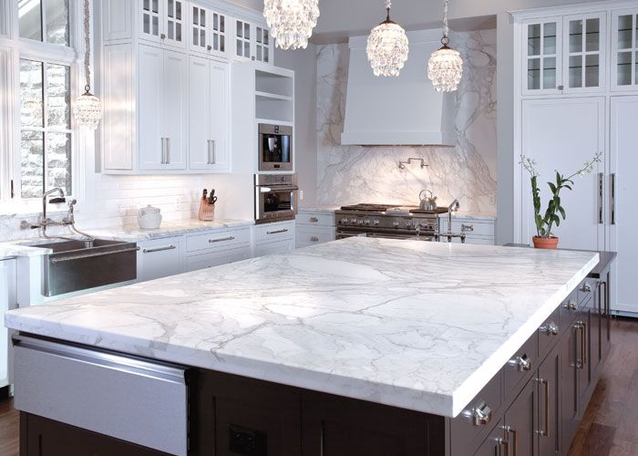Carrera marble kitchen island counter