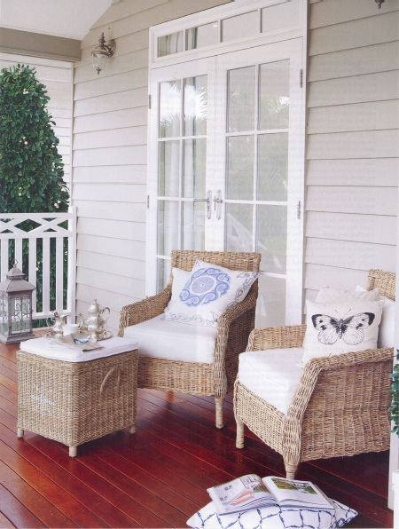 gracious South verandah with wicker furniture