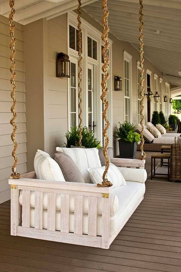 country style verandah with pallet swing sofa