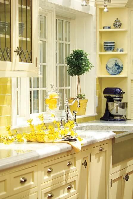 sunny yellow kitchen cabinets