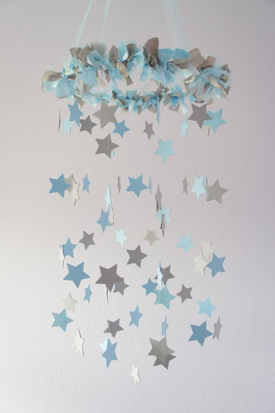 blue and grey starry mobile toy