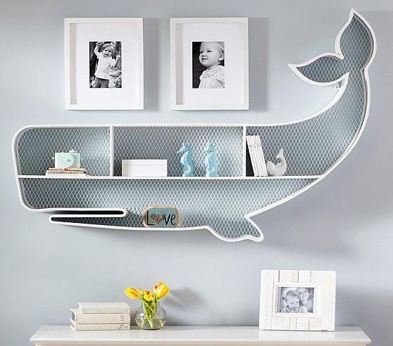 whale-shaped shelf for nursery rooms
