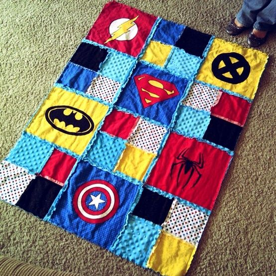 colourful superhero quilt for babies