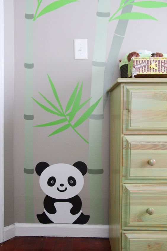 bamboos and panda decoration for nursery rooms