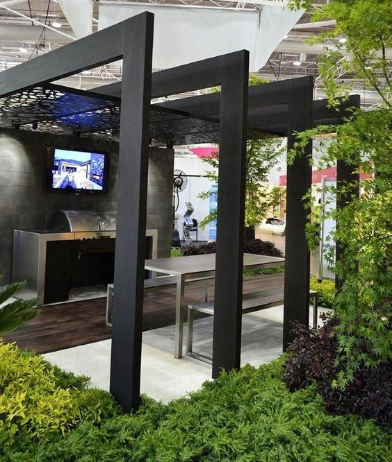 contemporary black pergola