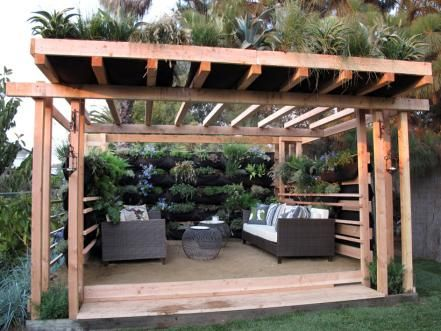 garden pergola with plant roof and sides