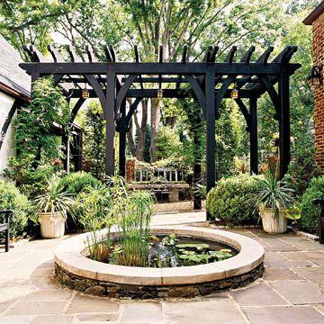 basic black garden pergola