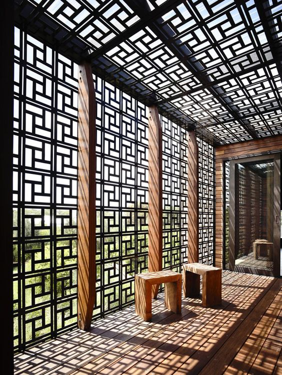 geometric pergola screens and shade