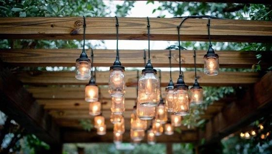 glass jar pergola lights
