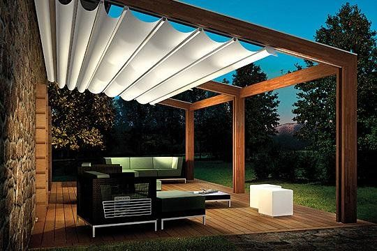 deck pergola with retractable canvas shade