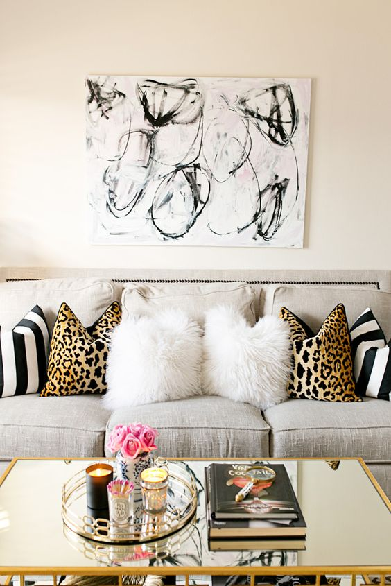 artsy feline themed living room