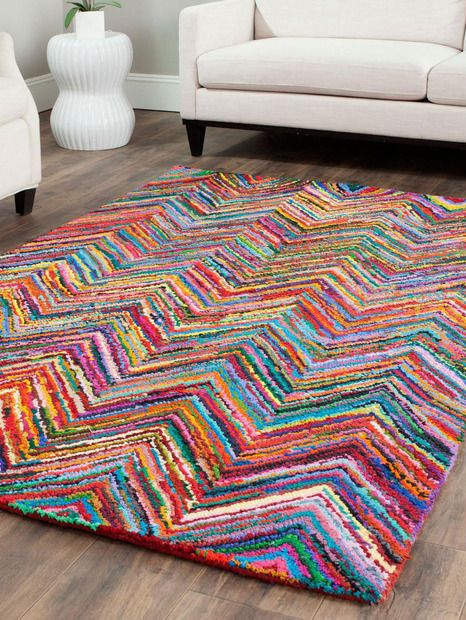 brightly coloured living room rug