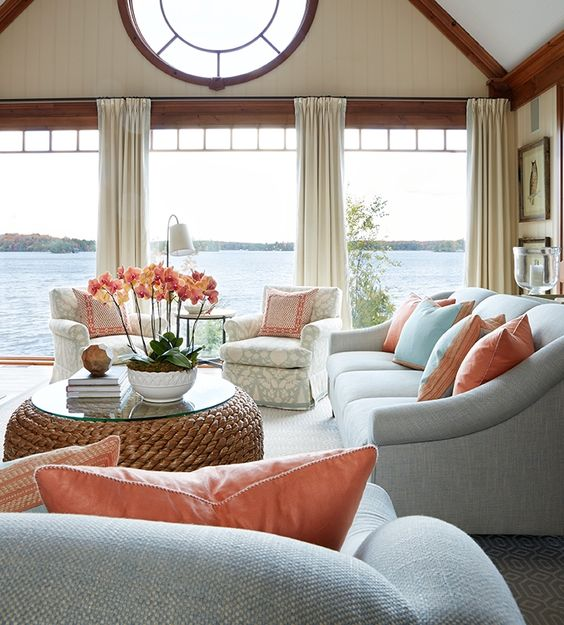well-lighted  Cape Cod living room