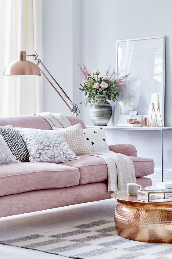 chic pastel living room