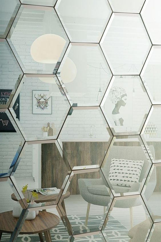 hexagonal silver bevelled mirror tiles