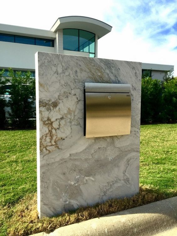 modern mailbox with marble base