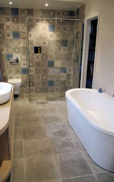 pathcwork tile shower wall