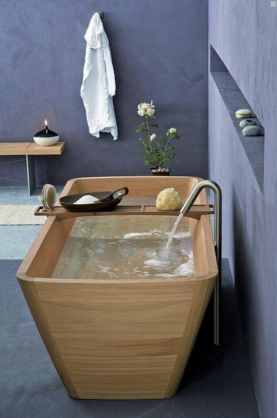 modern wooden bath tub
