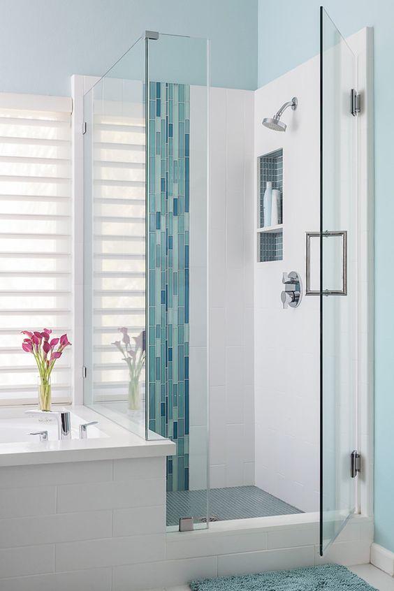 modern white and blue bathroom
