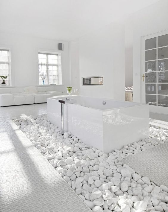 white spa inspired bathroom