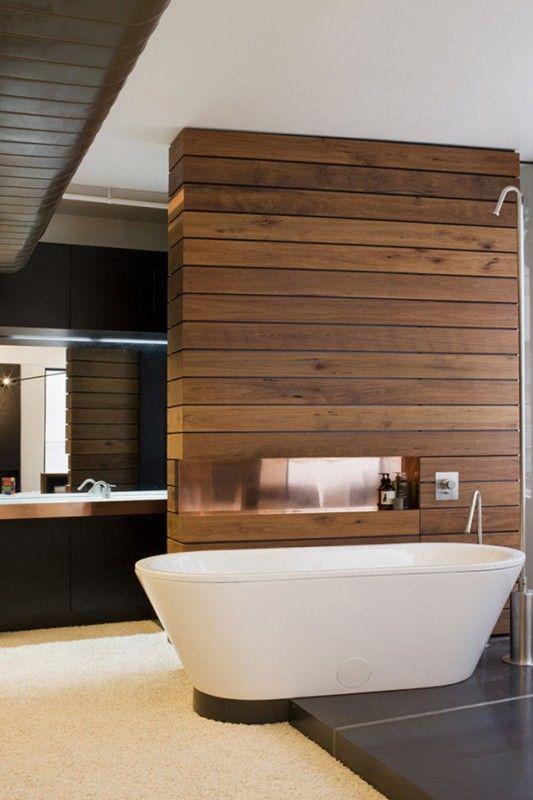 wood paneled bathroom divider