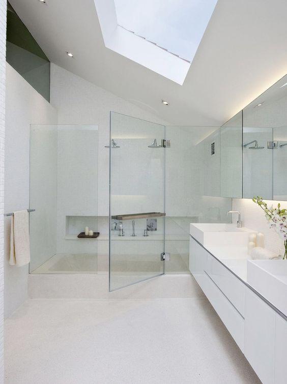 modern bathroom with skylight