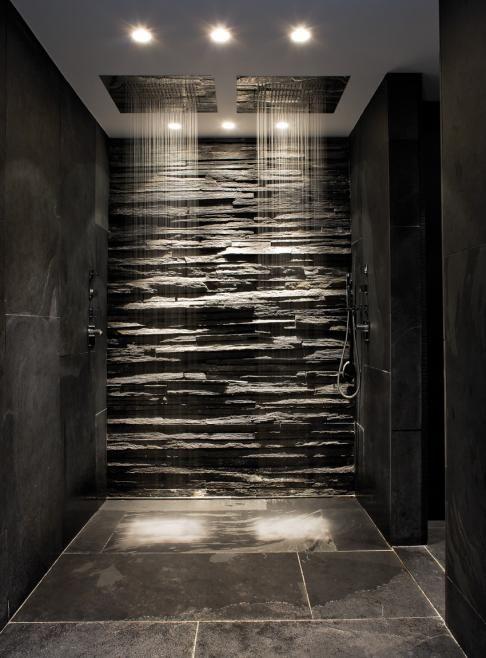 modern bath with rain showers