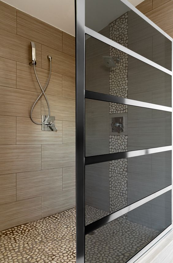 chrome and glass shower partition