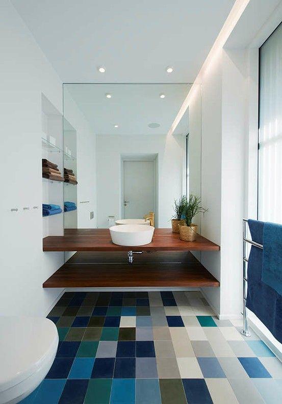 colourful modern bathroom floor